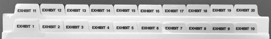 Exhibit Tabs - 10th Cut Side, Numbered - Sets