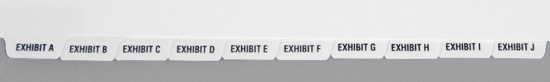 Exhibit Tabs - 10th Cut Bottom, Lettered - Sets