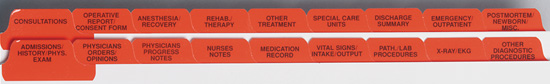 Medical Record Tabs - Red