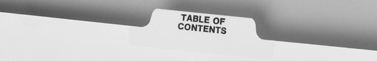 Table of Contents Tab